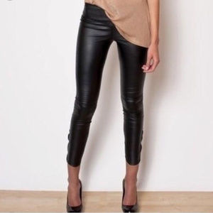 Black Faux Leather Leggings Zipper at Ankles NWOT